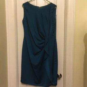 Jones New York peacock blue sheath dress - ruffle